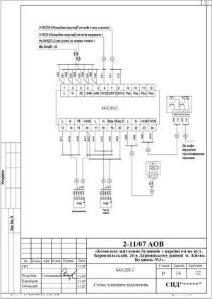 Схема внешних подключений блока коммутации клапанов БККДП-2