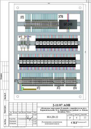 Монтажная панель центрального шкафа дымоудаления ШАДВ-22
