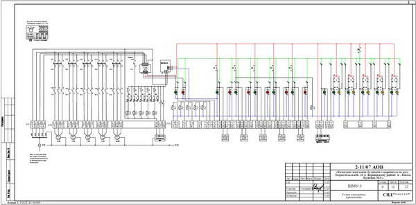 Схема электрическая принципиальная шкафа местного управления ШМУ-5