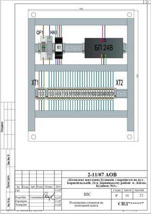 Монтажная панель шкафа сигнализации системы дымоудаления ШС-22