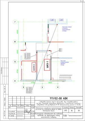 Расположение оборудования и кабельных трасс на фрагменте плана цокольного этажа