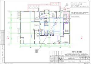 Расположение оборудования и кабельных трасс на фрагменте плана первого этажа