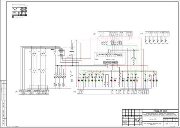 Схема электрическая принципиальная центрального шкафа ШАКПН-2