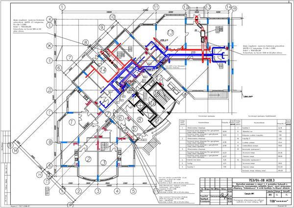 Расположение оборудования и кабельных трасс на плане первого этажа