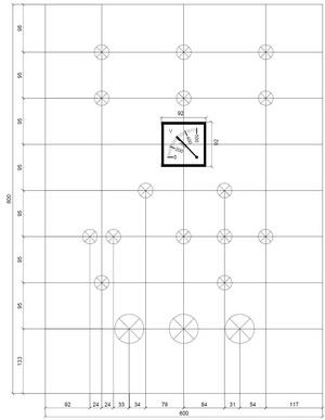 Разметка лицевой панели шкафа ШВРавр-100-2