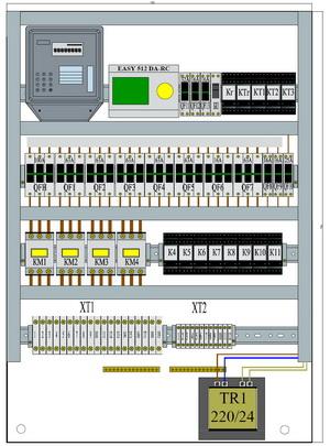 Схема расположения элементов на монтажных панелях шкафа ШВРавр-100-2
