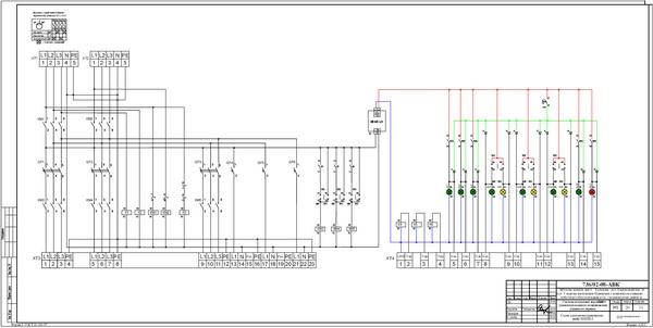 Схема электрическая принципиальная шкафа местного управления ШКПН-3.