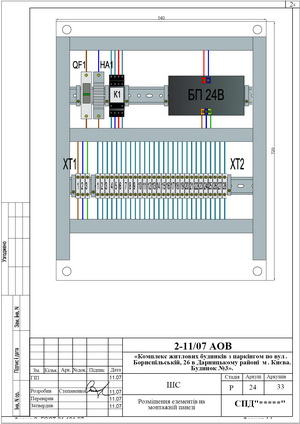 Монтажная панель шкафа сигнализации системы дымоудаления