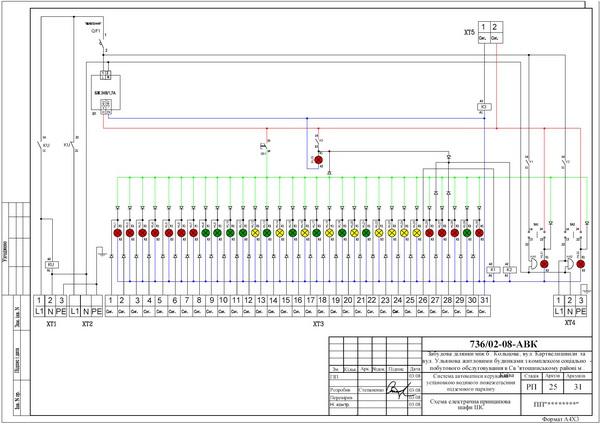 Схема электрическая принципиальная шкафа сигнализации системы спринклерного пожаротушения.