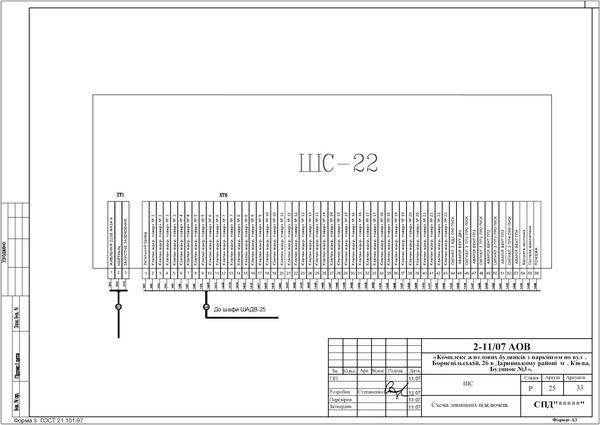 Схема внешних подключений шкафа сигнализации системы дымоудаления