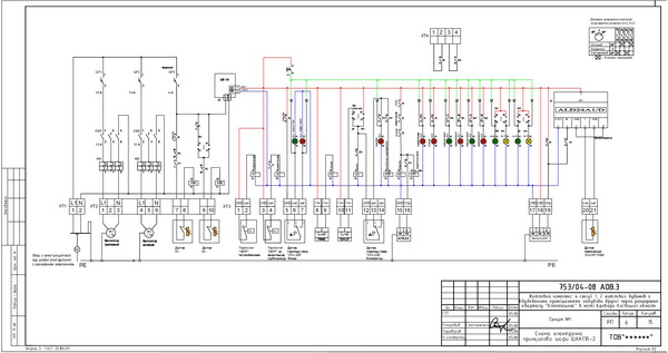 Схема электрическая шкафа